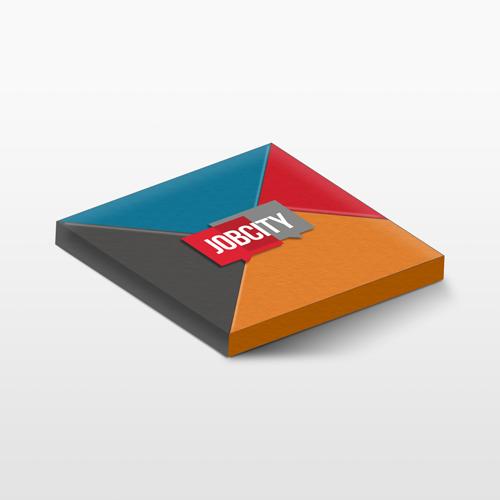 Montage 3D d'un Tangram avec le logo Jobcity sur la face